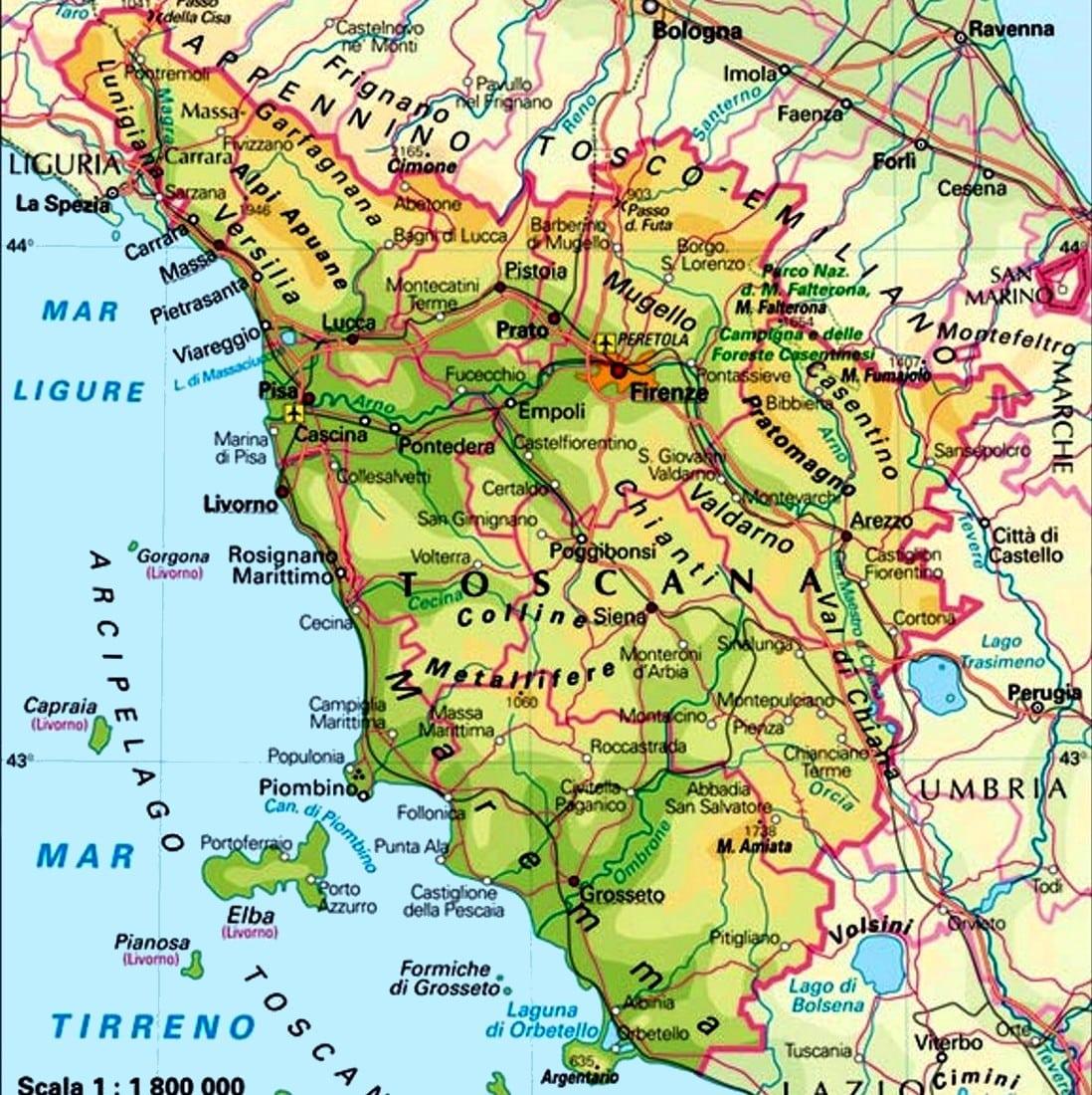 Cartina Toscana Dettagliata.Mappa Turistica Di Firenze Cartina Geografica Centro Storico